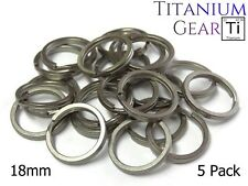 Titanium Key Ring 18mm - 5 Pack Ti Split Ring EDC Matte Finish 3/4