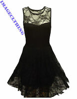 LADIES BLACK FLORAL LACE SKATER SLEEVELESS BODYCON NET FRILL MINI DRESS TOP 6-26