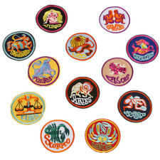 12 Star Sign Badge Constellation Iron on DIY Patch Zodiac Logo Appliques Pins