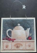 shabby chic plaque kitchen teapot fruit picture