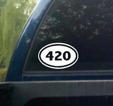 Oval 420 DECAL WALL OR CAR MARIJUANA WEED CANNABIS RASTA POT STICKER