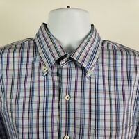 Peter Millar Seaside Finish Mens blue Purple Check L/S Dress Button Shirt Sz XL