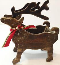 Handmade Wooden Reindeer Christmas Sleigh Holder Decoration