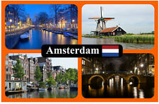 AMSTERDAM - SOUVENIR NOVELTY FRIDGE MAGNET - SIGHTS & FLAG - BRAND NEW / GIFT