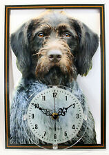 Horloge pendule chien drahthaar 2 clock dog uhr hund reloj