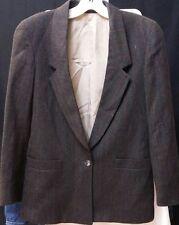 Womens Mark Shale Wool Brown Blazer Jacket 1 Button W/ Pockets. Size Medium