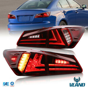 VLAND LED Tail Lights For Lexus IS250 IS350 ISF 2006-2012 Rear Lamp Red Clear