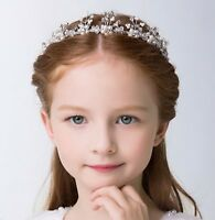 Wedding flower Girl Crystal Pearl Hair band head piece Tiara Crown Hoop garland