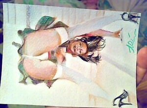 Original nudes art aceo, aceo oil/canvas,sexy dance style beauty  in stockings