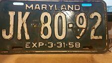 1958 Exp 3-31-58 Maryland JK-80-92 License Plate MD Tag