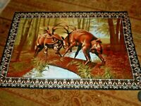 Vintage FIGHTING DEER TAPESTRY Wall Hanging 100% cotton Made Turkey 40X60  1980s