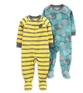 NWT sz 6 carters 2 pcs sloths lions preppy pajamas sleeper feet footed unionsuit