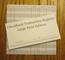 25 EASY TO READ CHECKBOOK TRANSACTION REGISTER LARGE PRINT CHECK BOOK REGISTERS