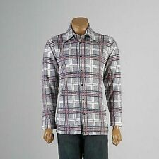 L Vintage 1970s 70s Plaid Print Disco Shirt Long Sleeve Casual Button Down