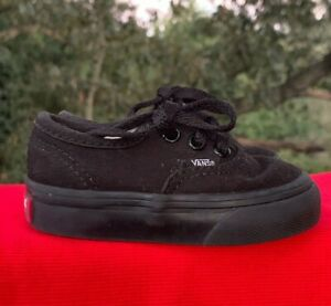 VANS Off the Wall All Black Canvas Athletic Toddler Boys Girls Shoes Sz 3 👣b14