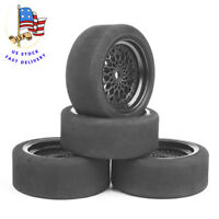 4Pcs Unique Foam Tires Wheel Rims For HSP HPI 1/10 RC On-road Car 23001 12mm Hex
