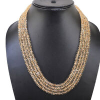 7 Strands Natural Citrine Necklace Faceted Top Quality Beads 925 Silver Clasp