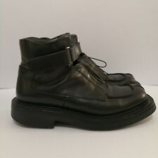 Authentic Prada Vintage Black Leather Chunky Boots
