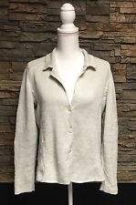 Eileen Fisher Cotton Metallic Cardigan Sweater Button Zip Wrist Beige Medium