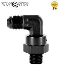 AN -6 (AN6 AN 06) to ORB-6 O-Ring Boss 90 Degree FORGED Swivel Adapter Black