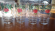 Hand Painted Juice Glasses Ribbed Bottom Fruit Design Clear Glass 4 5oz