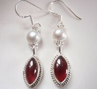 Garnet Pearl with Rope Style Accents 925 Sterling Silver Dangle Earrings h120a