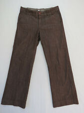*A-029 LADIES LEE NO GAP WAISTBAND STRETCH BROWN WIDE LEG PANTS SZ 12 AS NEW