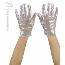 Silver Sequin Gloves Michael jackson Glitter Dancer Burlesque Fancy Dress