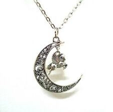 Antique Silver Moon and Pegasus  Necklace Winged Flying Horse Mythical Jewellery