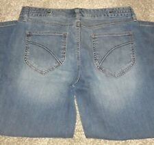 New Eddie Bauer Women's Size 8 Tall Capris Denim Blue Jeans  Pants Embroidered