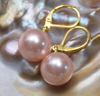 Rare Huge 14MM Genuine pink South Sea Shell Pearl Leverback Dangle Earrings