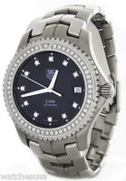 Tag Heuer Men's Link Black Diamond Dial Stainless Steel Swiss Watch WJ1117-0