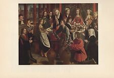 "1956 Vintage FLEMISH ""THE WEDDING AT CANA"" by GERARD DAVID COLOR Art Lithograph"