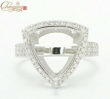 0.52ct Diamond Semi Mount Engagement Ring Trillion Cut 13x13mm 14k White Gold