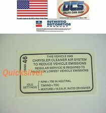1969 Plymouth Dodge 340 4 speed Transmission Emissions Decal NEW MoPar USA