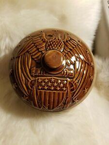 """Vintage USA 8"""" Eagle Stoneware Crock w/Lid Brown Pot/Casserole Dish EXCELLENT!!!"""