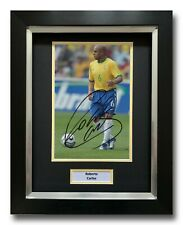 ROBERTO CARLOS HAND SIGNED FRAMED PHOTO DISPLAY - BRAZIL FOOTBALL AUTOGRAPH 1.