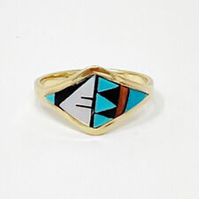 DE-CM Zuni NA 14K Gold Intarsia Turquoise/MOP/Coral/Onyx Inlay Ring Size 8