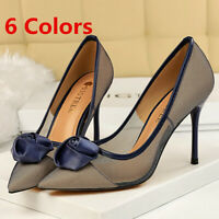 Women Dress Pumps Transparent Closed Pointed Toe Stilettos High Heel Basic Shoes