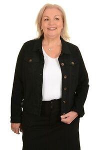 Ladies Women's Stretch Classic Black Denim Jacket - Sizes 8 to 18