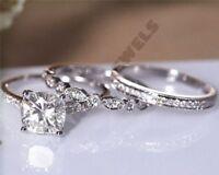 3 pcs wedding bridal ring set engagement 2 ct diamond dvvs1 14k white gold over