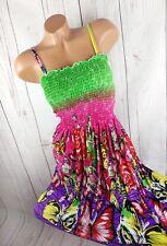 Bustier Bandeau Kleid Trägerkleid Boho Hippie gesmokt knall bunt 32 34 36 38