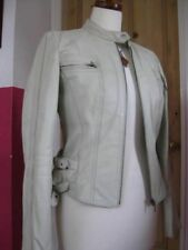 Ladies NEXT ivory grey real Leather Biker Style Cafe Racer Jacket size UK 10 8