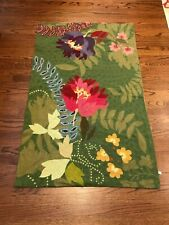 Anthropologie wool crewel embroidered rug 3X5 beautiful colors Free Ship