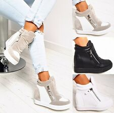 NEW LADIES WEDGE SNEAKERS TRAINERS ZIP ANKLE PLATFORM BOOTS WHITE BLACK GRAY 390