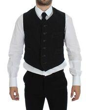 NWT $500 DOLCE & GABBANA Black Wool Single Breasted Vest Gilet IT48 / US38 / M