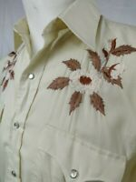 Vtg 70s 80s Chute #1 WESTERN SHIRT Cowboy Embroidered Rockabilly Mens Small 19""