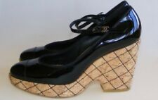 Chanel Black Patent Leather Quilted Cork Platform Wedge/Pumps/Shoes 39.5/9.5