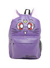 2017 Sailor Moon Luna Cat Big Face Faux Leather Purple Backpack School Bag NEW