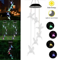 Solar Powered Wind Chime Light LED Garden Hanging Lamp Color Changing Decoration